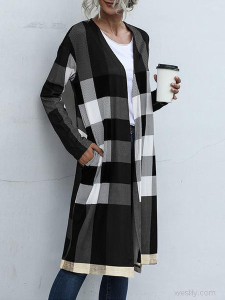 Plaid Print Long Cardigan Coat