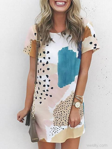 Round Neck Print Short Sleeve Dress