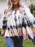 Print Round Neck Long Sleeve Tops
