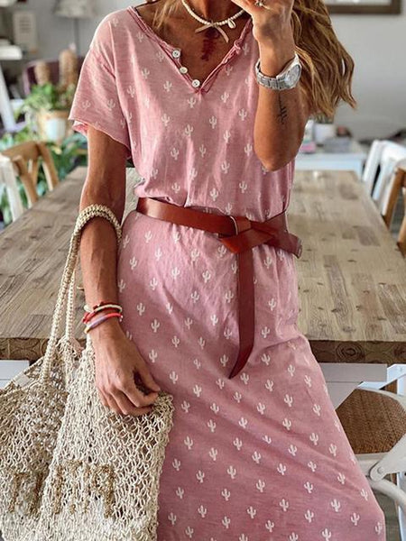 Casual Print V Neck Maxi Dress