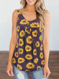 Sunflower Print Pleated Button Tops