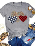 Plaid Leopard Print Heart Valentine T-shirt