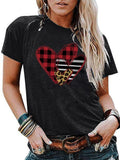 Valentine's Day Love Plaid Striped Leopard T-shirt