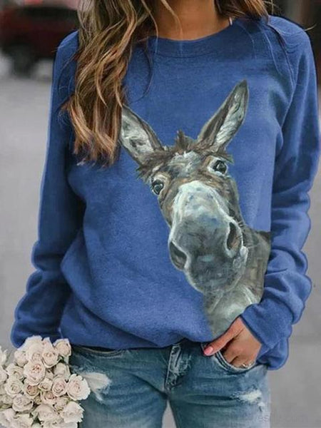 Donkey Print Long Sleeve Casual Top