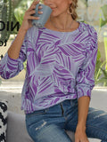 Leaves Print Round Neck Tops