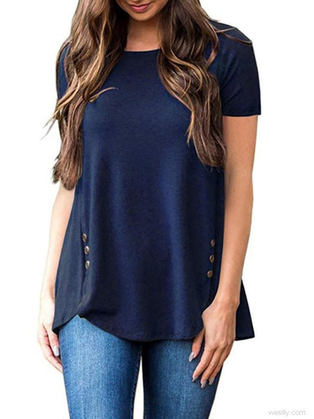 Button Decor Short Sleeve Solid Tunic