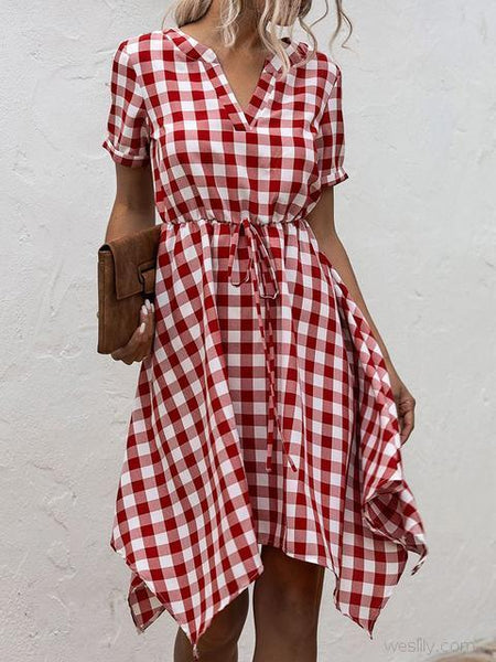 Casual Plaid Midi Dress