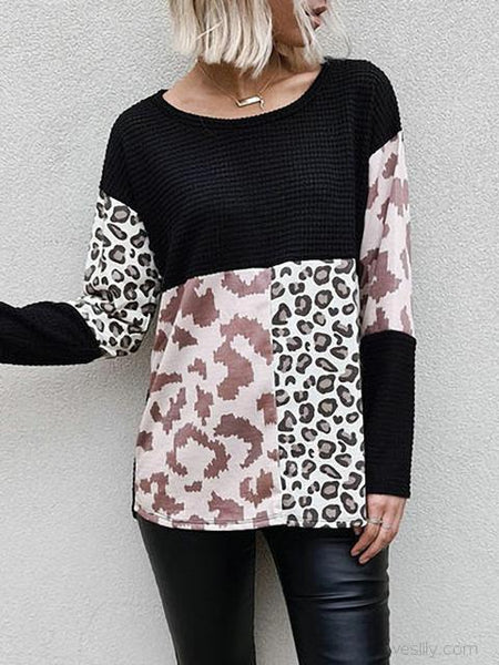 Leopard Print Patchwork Knitted Top
