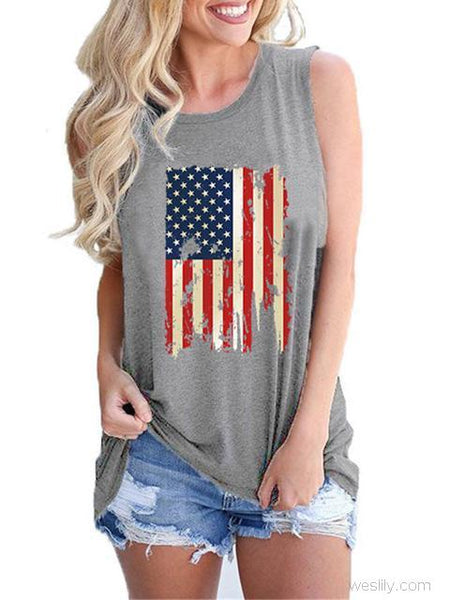 American Flag Printed Round Neck Tank Top