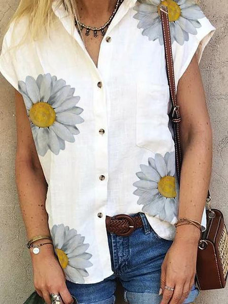Daisy Print Lapel Blouse Shirt
