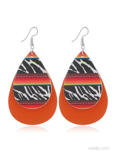 Printed Double-layered Leather Earrings