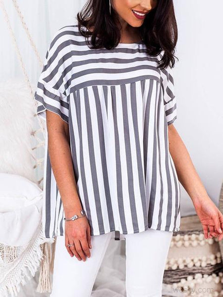 Casual Striped Print Round Neck Tops
