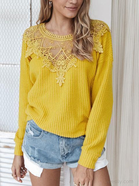 Neck Lace Stitched Solid Sweater