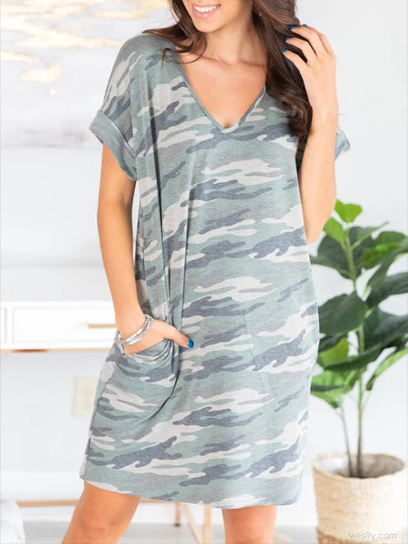 Printed Short Sleeve Tunic Dress