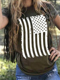 American Flag Print Short Sleeve T-Shirt