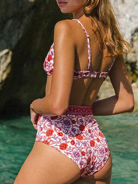 Bohemian Print Kitted High Waist Bikini