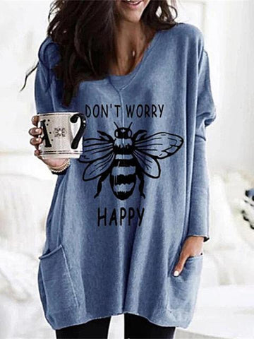 Bee Print V-Neck Tunic Tee With Pocket