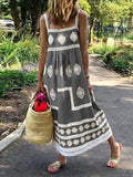 Bohemian Print Strap Loose Long Dress