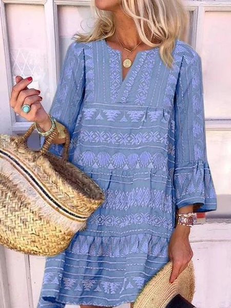 Bohemian Printed Ruffle Sleeve Loose Dress