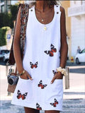 Butterfly Print Sleeveless Loose Mini Dress