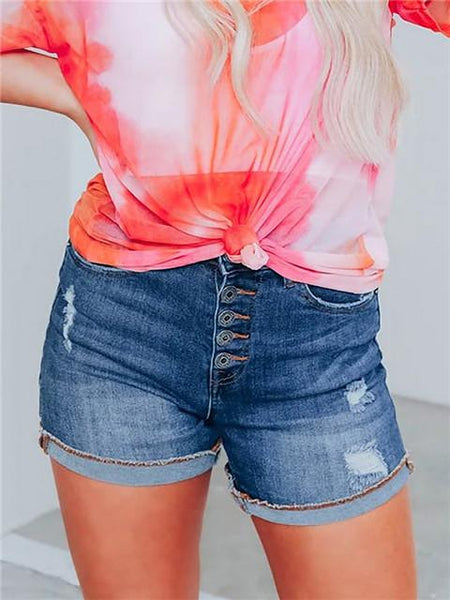 Buttoned Fly Light Wash Denim Shorts