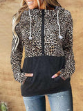 Camo Leopard Print Patchwork Hooded Sweatshirt