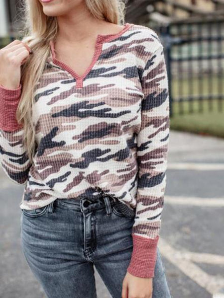 Camo Pattern V Neck Casual Long Sleeve Top