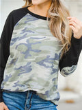 Camo Print Elbow Patches Long Sleeve Top