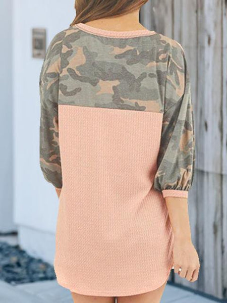 Camo Round Neck Long Sleeve Pullover Top