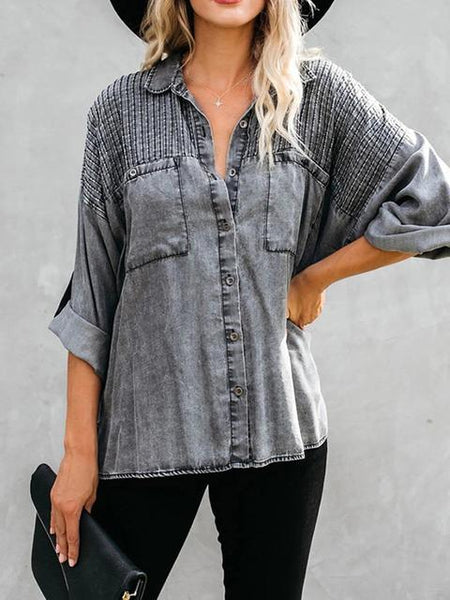 Casual Buttons Striped Denim Shirt