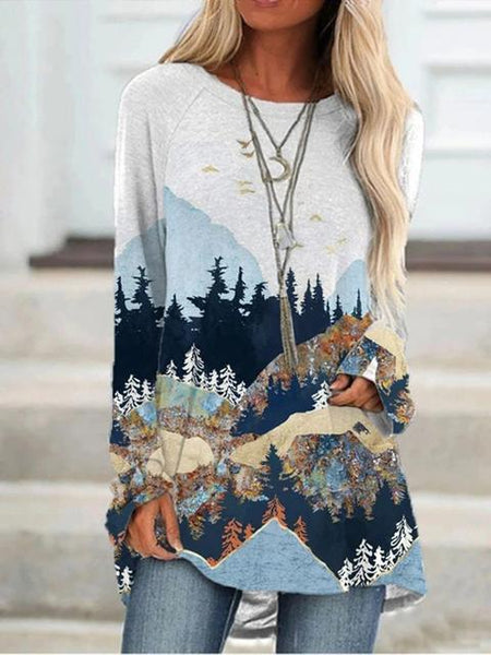 Casual Crew Neck Forest Print Tunic Top