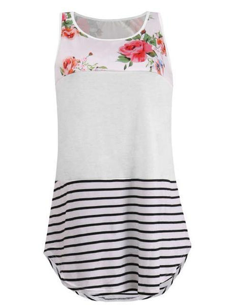 Casual Floral Striped Sleeveless Tank Top