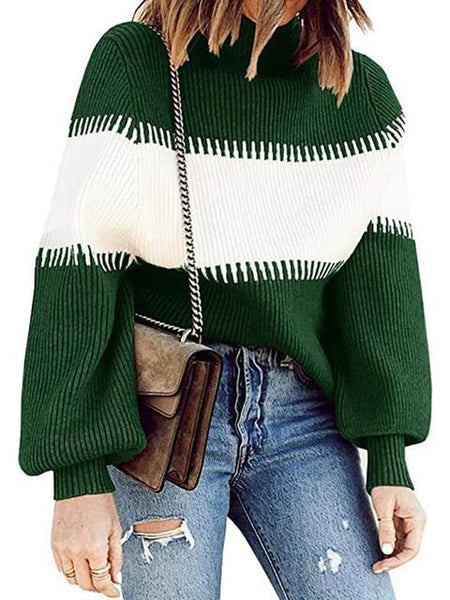 Casual Lantern Sleeve Knitted Sweater Pullover