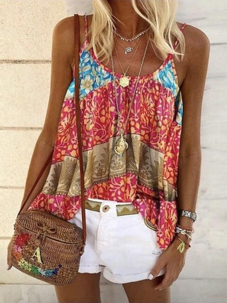 Casual Loose Floral Print Camisole Tops