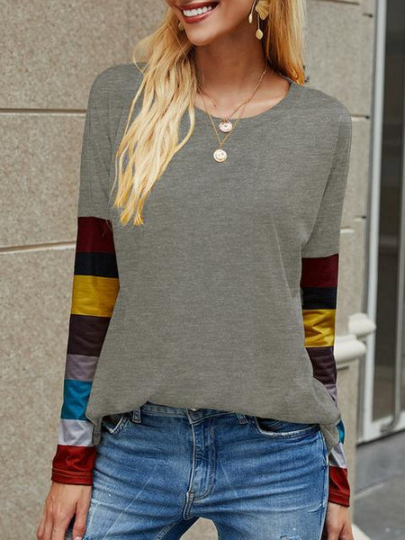Casual Round Neck Striped Long Sleeve T-shirt