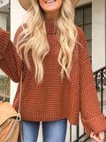 Casual Solid Color Knitted Turtleneck Sweater