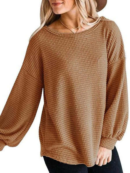 Casual Solid Color Waffle Knit Pullover
