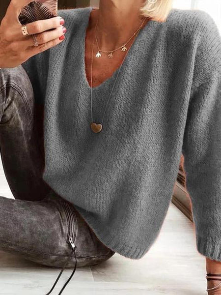 Casual Solid V-neck Short Sweater