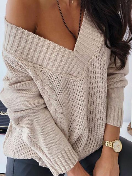 Casual V-neck Stitching Sweater