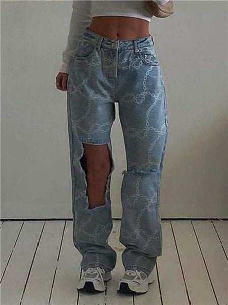 Casual Washed Ripped Jeans