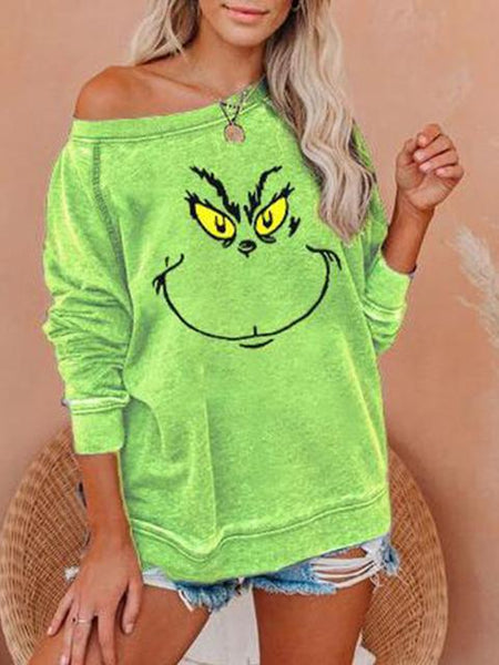 Christmas Grinch Print Pullover Top