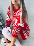 Christmas Pattern Long Sleeve Knitted Dress