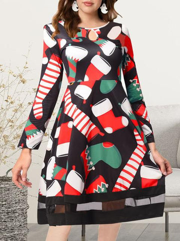 products/ChristmasPatternPrintA-lineDress_1.jpg