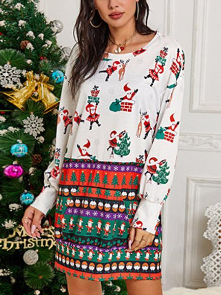 Christmas Pattern Print Loose Dress
