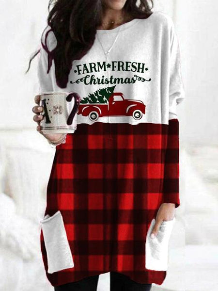 Christmas Plaid Print Tunic Top With Pocket