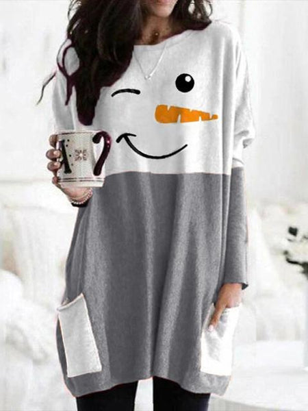 Christmas Snowman Print Long Sleeve Dress