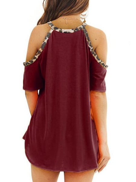 Cold Shoulder Strap Leopard Print Tops