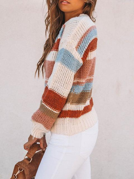 Color Block Cable-knit Round Neck Sweater