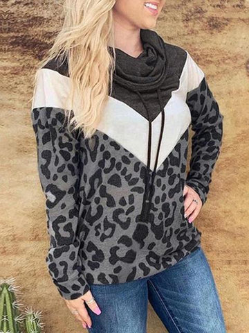 Color Block Leopard Print Pile Collar Sweatshirt