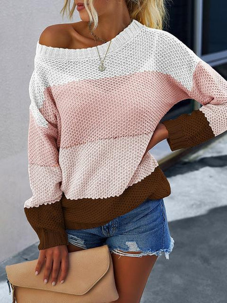 Color Block Loose Hollow Out Sweater